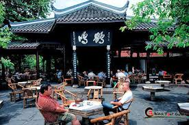 People sitting at a traditional tea house in Chengdu